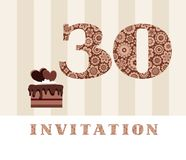 Invitation, 30 years old, chocolate cake, heart, vector. The invitation to the birthday party. Wedding anniversary. Color card. Chocolate cake with hearts Stock Images