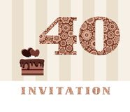 Invitation, 40 years old, chocolate cake, heart, vector. The invitation to the birthday party. Wedding anniversary. Color card. Chocolate cake with hearts Stock Photo