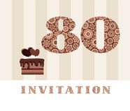 Invitation, 80 years old, chocolate cake, heart, vector. The invitation to the birthday party. Color card. Chocolate cake with hearts. English royalty free illustration
