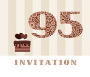 Invitation, 95 years old, chocolate cake, heart, vector. The invitation to the birthday party. Color card. Chocolate cake with hearts. English royalty free illustration