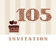 Invitation, 105 years old, chocolate cake, heart, vector. The invitation to the birthday party. Color card. Chocolate cake with hearts. English vector illustration