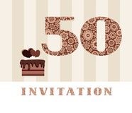 Invitation, 50 years old, chocolate cake, heart, vector. The invitation to the birthday party. Wedding anniversary. Color card. Chocolate cake with hearts Stock Photos