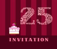 Invitation, 25 years old, raspberry pie, vector, English. The invitation to the birthday party. Wedding anniversary. Color card. Berry cake with raspberries on stock illustration
