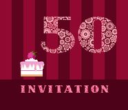 Invitation, 50 years old, raspberry pie, vector, English. The invitation to the birthday party. Wedding anniversary. Color card. Berry cake with raspberries on Stock Images