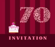 Invitation, 70 years old, raspberry pie, vector, English. The invitation to the birthday party. Wedding anniversary. Color card. Berry cake with raspberries on Stock Photos