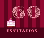 Invitation, 60 years old, raspberry pie, vector, English. The invitation to the birthday party. Wedding anniversary. Color card. Berry cake with raspberries on Vector Illustration
