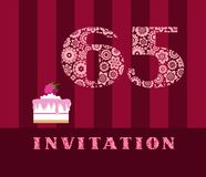 Invitation, 65 years old, raspberry pie, vector, English. The invitation to the birthday party. Wedding anniversary. Color card. Berry cake with raspberries on stock illustration