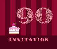 Invitation, 90 years old, raspberry pie, vector, English. The invitation to the birthday party. Wedding anniversary. Color card. Berry cake with raspberries on Stock Photography