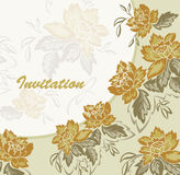 The invitation with yellow flowers Stock Photo
