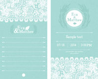 Invitations bleues de mariage Photo stock