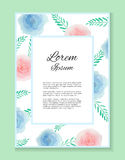 Invitations, certificate from with place for text with colorful watercolor flowers Stock Photography