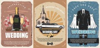 Invitations de cérémonie de mariage ou affiches de épouser illustration de vecteur