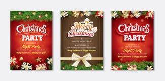 Invitations de carte de voeux et de partie de Joyeux Noël sur le backg rouge illustration libre de droits