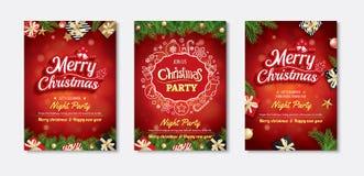 Invitations de carte de voeux et de partie de Joyeux Noël sur le backg rouge illustration stock