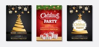 Invitations de carte de voeux et de partie de Joyeux Noël sur le CCB noir illustration de vecteur