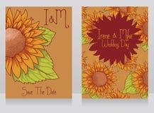 Invitations de mariage avec de beaux tournesols Image stock