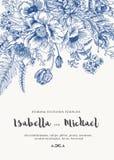 Invitations de mariage avec des fleurs d'été Photo stock
