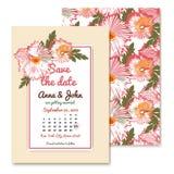 Invitations de mariage de chrysanthème dans le style de vintage illustration stock