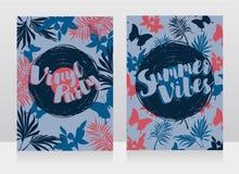Invitations de style de disco dans le style tropical à la mode Photographie stock