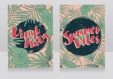 Invitations de style de disco dans le style tropical à la mode Image stock