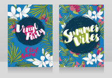 Invitations de style de disco dans le style tropical à la mode Images stock