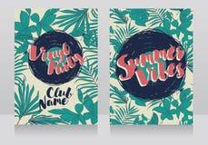 Invitations de style de disco dans le style tropical à la mode Image libre de droits