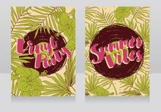 Invitations de style de disco dans le style tropical à la mode Images libres de droits