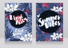 Invitations de style de disco dans le style tropical à la mode Photos stock