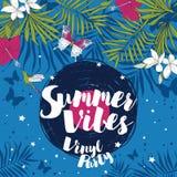 Invitations de style de disco dans le style tropical à la mode Photo libre de droits