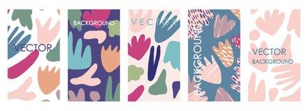 Invitations et conception florales vives de calibre de carte Ensemble à main levée abstrait de vecteur illustration libre de droits