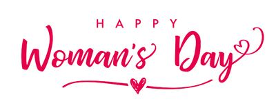 March 8 Happy Womans Day elegant lettering banner. Invitations for the International Women`s Day, March 8 with calligraphic text and pink heart on line Stock Image