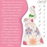 Invitaton do casamento com vintage da silhueta da noiva ilustração stock