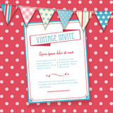 Invite and bunting background. Vintage Invite on a pink polka dot background with bunting Royalty Free Stock Photography