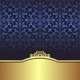 Invite design: blue ornamental Background with golden Border Royalty Free Stock Image