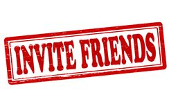 Invite friends. Stamp with text invite friends inside, illustration Stock Image