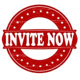 Invite now. Stamp with text invite now inside,  illustration Royalty Free Stock Photography