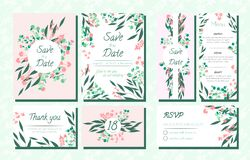 Invite Templates Set with Eucalyptus. royalty free illustration