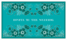 Invite to the wedding. Wedding invitation card with floral elements on dark Stock Image