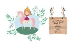 Invited birthday party card with unicorn and princess. Vector illustration design Royalty Free Stock Photography