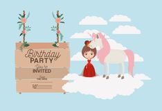 Invited birthday party card with unicorn and princess. Vector illustration design Stock Photo