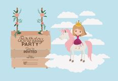 Invited birthday party card with unicorn and princess. Vector illustration design Stock Image