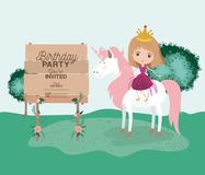 Invited birthday party card with unicorn and princess. Vector illustration design Stock Photos