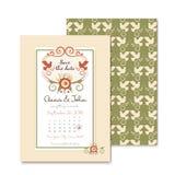 Inviti d'annata di nozze con la decorazione floreale Immagini Stock Libere da Diritti