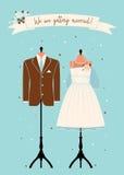 Inviti di nozze con il vestito di nozze Immagini Stock