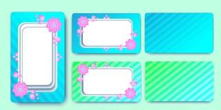 Inviti i fiori del modello delle partecipazioni di nozze Bande colorate Illustrazione di vettore di ENV 10 illustrazione vettoriale