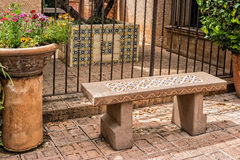 Inviting bench, Tlaquepaque in Sedona, Arizona Royalty Free Stock Photo