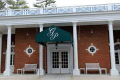 Inviting front entrance to one of Saratoga`s premier hotels, The Gideon Putnam, New York, 2016 Stock Photo
