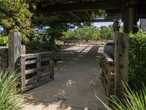 Inviting garden patio Stock Photography