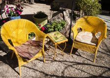 Inviting garden seating area Stock Image
