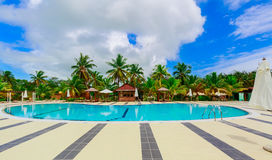Inviting gorgeous, stunning view of hotel grounds with cozy, comfortable swimming pool. Cayo Guillermo island, Sercotel resort, Cuba, July 4, 2016, beautiful Royalty Free Stock Photography